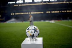 UEFA Champions League ball. On the stand stock photos