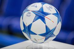 UEFA Champions League ball. On the stand royalty free stock photography