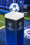 UEFA Champions League ball. On the stand royalty free stock photo