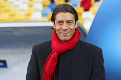 UEFA Champions League Dynamo Kiev v Benfica: pre-match training. KYIV, UKRAINE - OCTOBER 18, 2016: Rui Costa, Director of football at SL Benfica club looks on stock images