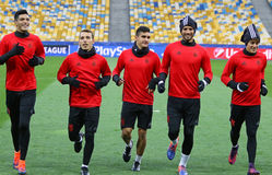 UEFA Champions League Dynamo Kiev v Benfica: pre-match training. KYIV, UKRAINE - OCTOBER 18, 2016: SL Benfica players run during training session at NSC stock image
