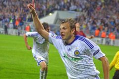 UEFA Champions League: Dynamo Kiev v Rubin Kazan. KYIEV, UKRAINE - SEPTEMBER 16: Dynamo Kiev's midfielder Oleg Gusev reacts after he scored a goal during UEFA stock photography