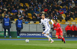 UEFA Champions League: FC Dynamo Kyiv v Benfica. KYIV, UKRAINE - OCTOBER 19, 2016: Andriy Yarmolenko of Dynamo Kyiv (L) fights for a ball with Alex Grimaldo of Royalty Free Stock Photography