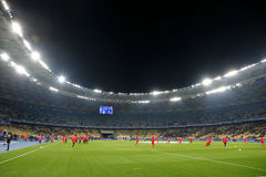 UEFA Champions League: FC Dynamo Kyiv v Benfica. KYIV, UKRAINE - OCTOBER 19, 2016: Panoramic view of NSC Olimpiyskyi stadium in Kyiv before UEFA Champions League stock photos
