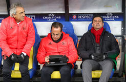 UEFA Champions League: FC Dynamo Kyiv v Benfica. KYIV, UKRAINE - OCTOBER 19, 2016: SL Benfica manager Rui Vitoria (R) looks on during UEFA Champions League game stock photo