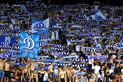 UEFA Champions League: FC Dynamo Kyiv v Young Boys. KYIV, UKRAINE - JULY 26, 2017: FC Dynamo Kyiv supporters show their support during UEFA Champions League 3rd stock photo