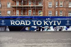 UEFA Champions League Final 2018 Kyiv Banner. UCL 2018 Final banner pictured in the stands during the UEFA Champions League Round of 16 game between Chelsea FC Stock Photos