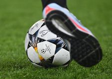 UEFA Champions League Final 2018 Kyiv Official Ball. Football players pictured during the UEFA Champions League Round of 16 game between Chelsea FC and FC Stock Photography