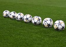 UEFA Champions League Final 2018 Kyiv Official Ball. Football players pictured during the UEFA Champions League Round of 16 game between Chelsea FC and FC Stock Photo