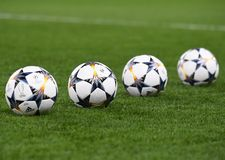 UEFA Champions League Final 2018 Kyiv Official Ball. Football players pictured during the UEFA Champions League Round of 16 game between Chelsea FC and FC Stock Photos