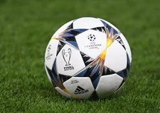 UEFA Champions League Final 2018 Kyiv Official Ball. Football players pictured during the UEFA Champions League Round of 16 game between Chelsea FC and FC Royalty Free Stock Images