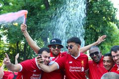 UEFA Champions League Final in Kyiv, Ukraine. KYIV, UKRAINE - MAY 26, 2018: Liverpool football fans taking photo at the day of UEFA Champions League Final match stock image