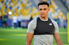 UEFA Champions League final match 2018. KYIV, UKRAINE - MAY 26, 2018: Trent Alexander-Arnold and Training of football players of Liverpool before the 2018 UEFA stock photography