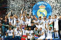 UEFA Champions League Final 2018 Real Madrid v Liverpool, Kiev,. KYIV, UKRAINE - MAY 26, 2018: Real Madrid players celebrate their winning of the UEFA Champions royalty free stock image