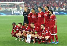 UEFA Champions League Final 2018 Real Madrid v Liverpool, Kiev,. KYIV, UKRAINE - MAY 26, 2018: Liverpool players pose for a group photo before the UEFA Champions royalty free stock photo