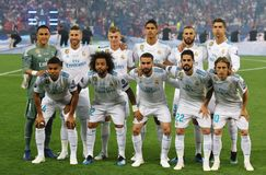 UEFA Champions League Final 2018 Real Madrid v Liverpool, Kiev,. KYIV, UKRAINE - MAY 26, 2018: Real Madrid players pose for a group photo before the UEFA stock image