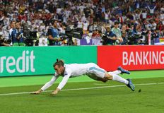 UEFA Champions League Final 2018 Real Madrid v Liverpool. KYIV, UKRAINE - MAY 26, 2018: Gareth Bale of Real Madrid celebrates after scored a goal during the UEFA stock image