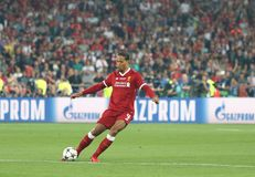 UEFA Champions League Final 2018 Real Madrid v Liverpool. KYIV, UKRAINE - MAY 26, 2018: Virgil Van Dijk of Liverpool in action during the UEFA Champions League stock photography