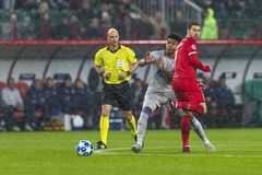 The UEFA Champions League game at «RZD ARENA» stadium, Lokomotiv - Schalke 04. MOSCOW, RUSSIA, 03.10.2018: The UEFA Champions League game at «RZD ARENA royalty free stock photography