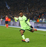 UEFA Champions League game FC Dynamo Kyiv vs Manchester City in. KYIV, UKRAINE - FEBRUARY 24, 2016: Raheem Sterling of Manchester City kicks the ball during UEFA Royalty Free Stock Photos