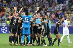 UEFA Champions League play-off: FC Dynamo Kyiv v Ajax. KYIV, UKRAINE - AUGUST 28, 2018: AFC Ajax players celebrate the reach of group stage after the UEFA stock image