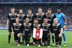 UEFA Champions League play-off: FC Dynamo Kyiv v Ajax. KYIV, UKRAINE - AUGUST 28, 2018: AFC Ajax players pose for a group photo before the UEFA Champions League stock photography