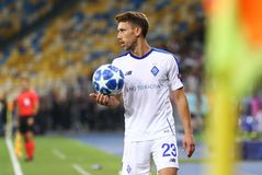 UEFA Champions League play-off: FC Dynamo Kyiv v Ajax. KYIV, UKRAINE - AUGUST 28, 2018: Croatian Josip Pivaric of FC Dynamo Kyiv throws ball in during the UEFA stock photos
