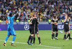 UEFA Champions League play-off: FC Dynamo Kyiv v Ajax. KYIV, UKRAINE - AUGUST 28, 2018: AFC Ajax players celebrate the reach of group stage after the UEFA royalty free stock photo
