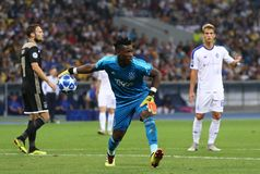 UEFA Champions League play-off: FC Dynamo Kyiv v Ajax. KYIV, UKRAINE - AUGUST 28, 2018: Goalkeeper Andre Onana of AFC Ajax in action during the UEFA Champions royalty free stock photos