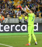 UEFA Champions League play-off: FC Dynamo Kyiv v Ajax. KYIV, UKRAINE - AUGUST 28, 2018: FC Dynamo Kyiv goalkeeper Denys Boyko thanks to fans after the UEFA royalty free stock photography