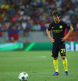 UEFA CHAMPIONS LEAGUE QUALIFICATION – STEAUA BUCHAREST vs. MANCHESTER CITY. Manchester City's David SIlva in action during the UEFA Champions Leagues Royalty Free Stock Images