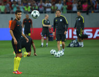 UEFA CHAMPIONS LEAGUE QUALIFICATION – STEAUA BUCHAREST vs. MANCHESTER CITY. Manchester City's Jesus Navas ( L ) in action at warm-up before  the UEFA Royalty Free Stock Photo
