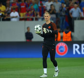 UEFA CHAMPIONS LEAGUE QUALIFICATION – STEAUA BUCHAREST vs. MANCHESTER CITY. Manchester City's Joe Hart in action at warm-up before the UEFA stock photography