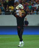UEFA CHAMPIONS LEAGUE QUALIFICATION – STEAUA BUCHAREST vs. MANCHESTER CITY. Manchester City's Joe Hart in action at warm-up before  the UEFA Champions Stock Photography