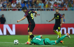 UEFA CHAMPIONS LEAGUE QUALIFICATION – STEAUA BUCHAREST vs. MANCHESTER CITY. Manchester City's Manuel Agudo Duran ( L ) ''NOLITO'' in action during the Stock Image