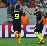 UEFA CHAMPIONS LEAGUE QUALIFICATION – STEAUA BUCHAREST vs. MANCHESTER CITY. Manchester City's Manuel Agudo Duran ''NOLITO''  L  celebrates with Sergio Stock Photos