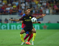 UEFA CHAMPIONS LEAGUE QUALIFICATION – STEAUA BUCHAREST vs. MANCHESTER CITY. Manchester City's Raheem Sterling in action during the UEFA Champions Leagues Royalty Free Stock Photos