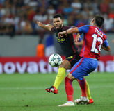 UEFA CHAMPIONS LEAGUE QUALIFICATION – STEAUA BUCHAREST vs. MANCHESTER CITY. Manchester City's Sergio Aguero  L  in action during the UEFA Champions Stock Images