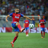 UEFA CHAMPIONS LEAGUE QUALIFICATION – STEAUA BUCHAREST vs. MANCHESTER CITY. Steaua Bucharest's Jugurtha Hamroun in action during the UEFA Champions Leagues Royalty Free Stock Photos