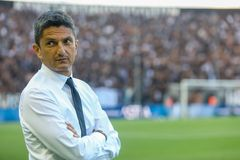 UEFA Champions League Second qualifying round , 1st match betwe. Thessaloniki, Greece - July 24, 2018: The coach of PAOK Razvan Lucescu during the UEFA Champions stock image