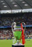 UEFA Champions League Trophy Cup. KYIV, UKRAINE - MAY 26, 2018: UEFA Champions League Trophy Cup presents before the final game between Real Madrid and Liverpool royalty free stock photography