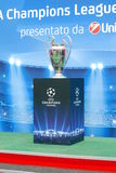 Uefa Champions League Trophy on the podium Royalty Free Stock Photos