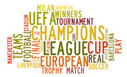 Uefa Champions League in word tag cloud Stock Images