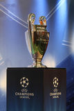 The UEFA Cup trophy. UEFA Champions League Trophy Tour 2011 in Kiev, Ukraine September 30,2011. The UEFA Cup - trophy awarded annually by UEFA to the football Royalty Free Stock Photography