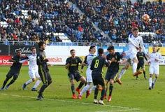 UEFA-de Jeugdliga: FC dynamo Kyiv v Juventus in Kyiv, de Oekraïne stock foto's