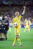 UEFA-de voetbalspel de Oekraïne van EURO 2012 versus Zweden Stock Foto