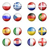 UEFA euro 2012 all groups a flags on soccerballs. All UEFA Euro 2012 football championship team flags on the soccer balls Royalty Free Stock Image