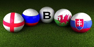 UEFA EURO 2016 balls with the flag of Group B England Russia Wal Stock Photos