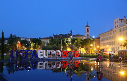 UEFA-EURO 2016 Buchstaben bei Promenade du Paillon in Nizza, Frankreich Lizenzfreie Stockfotos