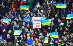 UEFA-EURO 2016 die om spel de Oekraïne versus Spanje kwalificeren Royalty-vrije Stock Foto